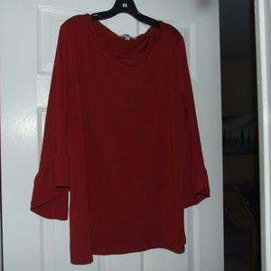 Loft Plus Red Sheer Sleeve Ruffle Top Size 20